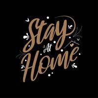 stanna hemma citat i guldfärg vektor