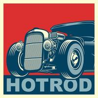 blaues und rotes Hot Rod Poster