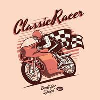 klassischer Motorradrennfahrer in Orangetönen