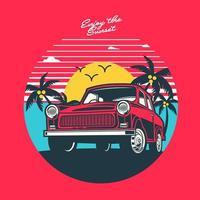 retro solnedgång och bil design