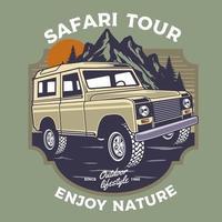 Safari-Design mit Fahrzeug- und Naturszene vektor