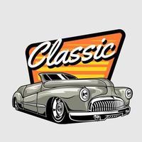 klassisches Auto auf orange und gelbem abstraktem Design