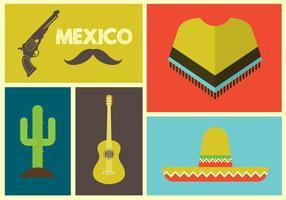 Vektor illustration av mexikanska ikoner