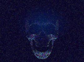 beängstigender mehrfarbiger Glitch-Schädel vektor