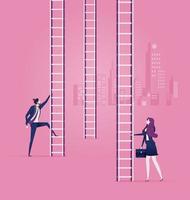 Geschäftsmann und Frau klettern Leitern