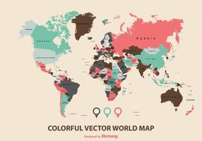 Färgglada världskarta vektor