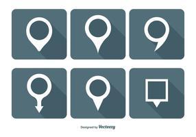 Karta stift vektor ikonuppsättning