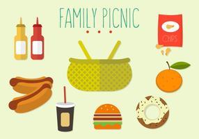 Vektor uppsättning av familj picknick
