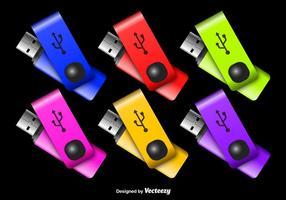 Färgglada Pen Drive Vectors
