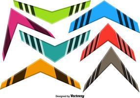 Färgglada Vector Boomerang Set