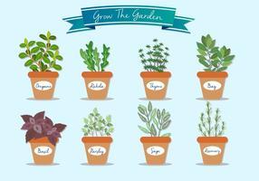 Wachsen Sie die Gartenpflanze-Vektoren