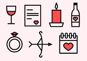 Freie Valentinstag Ikonen vektor