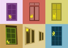 Knäckt fönster vektor