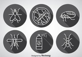 Skadedjurskontroll långa skugg ikoner vektor