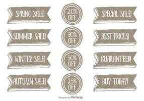 Handdragen stil Promotional Vector Label Set