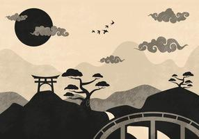 Kinesisk moln landskaps illustration vektor