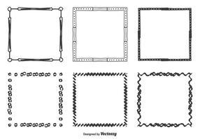 Handdragen vektorramar Set vektor