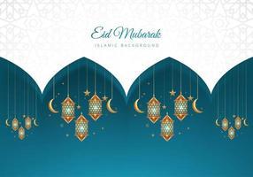 eid mubarak islamisk blå och vit lykta bakgrund vektor