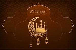 eid mubarak brun och guld kort bakgrund