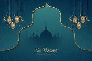 eid mubarak blå och guld accent semester bakgrund