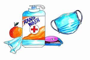 Aquarell Händedesinfektionsmittel und Maskenhintergrund