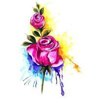 Rosen mit buntem Spritzhintergrund