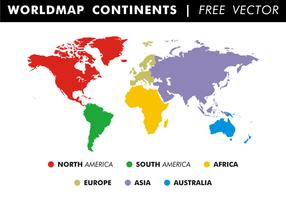 Världskarta kontinenter fri vektor