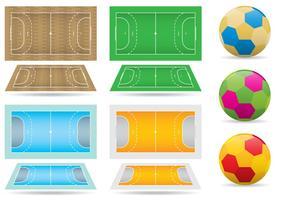 Handboll domstolar och bollar vektor