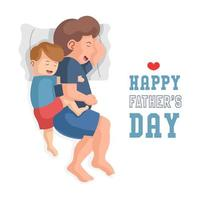 Vater und Sohn kuscheln und schlafen