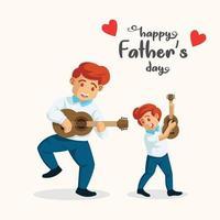 Mann spielt Gitarre mit seinem Sohn