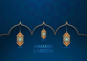 Ramadan Kareem dekorative arabische Lampen auf blau