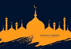 Ramadan Kareem Moschee Silhouette mit blauem Grunge Strich