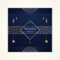 ramadan kareem-kort med hängande lyktor och stjärnor vektor