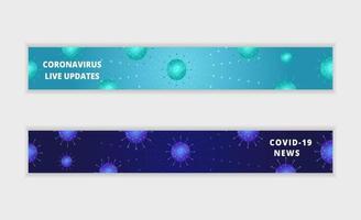 coronavirusuppdateringar och nyhetsbannersats vektor