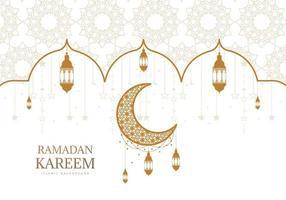 verzierter goldener und weißer Ramadan-Kareem-Gruß