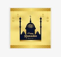 moské och lykta gyllene utsmyckade ramadankort vektor