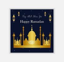 ramadan kareem gyllene moskén för sociala medier post vektor