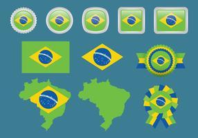 Brasilien och olympiska flaggor vektor