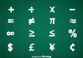 Mathe-Symbole Kreide Zeichnen Vektor-Sets