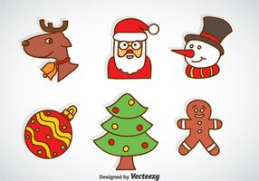 Jultecknad ikoner vektor