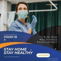 blaue und orange Coronavirus Social Media Post Vorlage