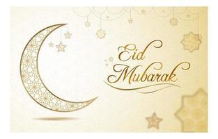 eid mubarak hälsning med guldstjärnamönster vektor