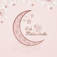 fyrkantigt eid mubarak-kort i mjuka rosa färger vektor