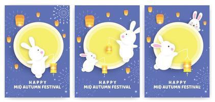 höstfestivalkortuppsättning med kaniner som håller lyktor vektor