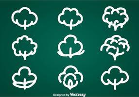 Bomull växt ikoner vektor uppsättningar
