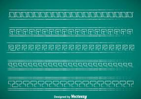 Griechische Schlüssel Kreide Drawn Grenze Vektor Sets