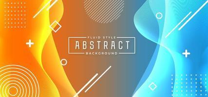abstrakter Hintergrund des blauen und orange fließenden fließenden Stils vektor