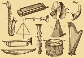 Gammal stil ritning musikinstrument vektor