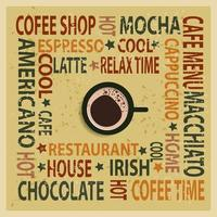 Vintage Kaffee Typografie Hintergrund vektor