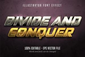 dela och erövra text, redigerbar typsnittseffekt för guld och silver i metallisk stil